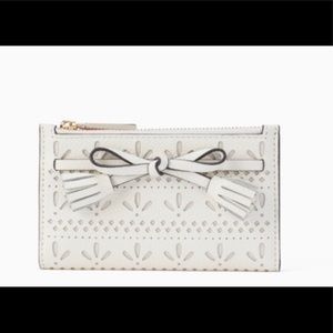 NEW KATE SPADE WHITE HAYES PERFORATED SMALL WALLET